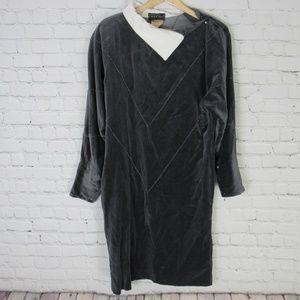 Krizia Dress Womens Size 42 Gray Velvet